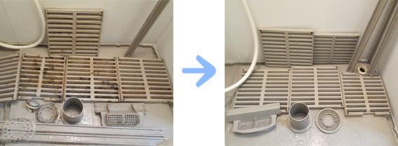京都 水まわり清掃専門 浴室排水口・床周りカバー清掃